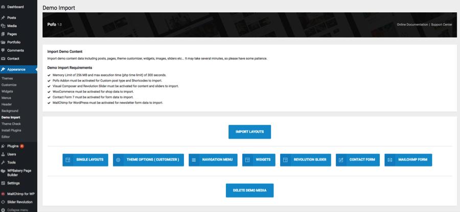 Import revolution slider demos – POFO Documentation