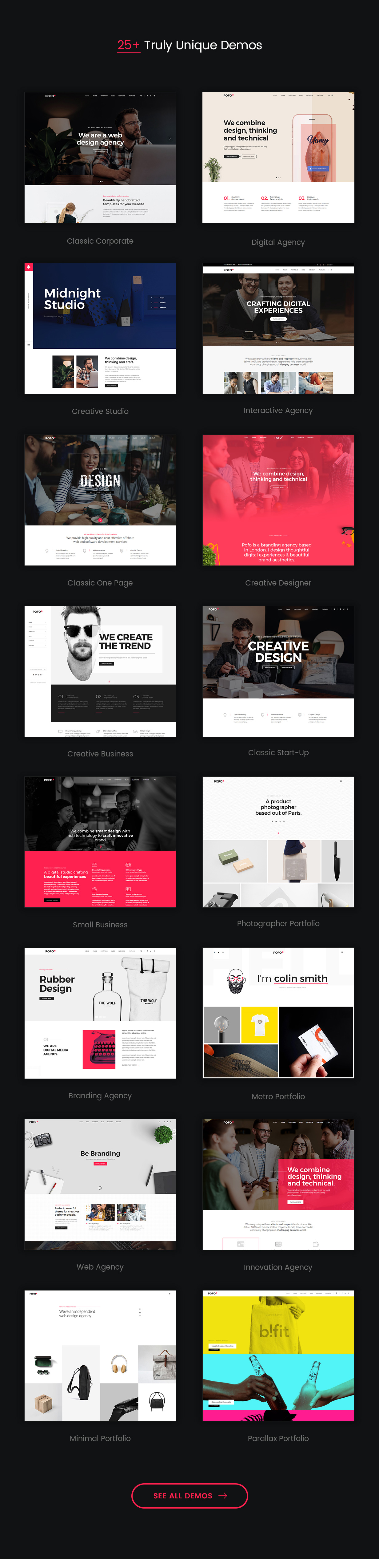 pofo wordpress demos - Pofo – Creative Portfolio and Blog WordPress Theme