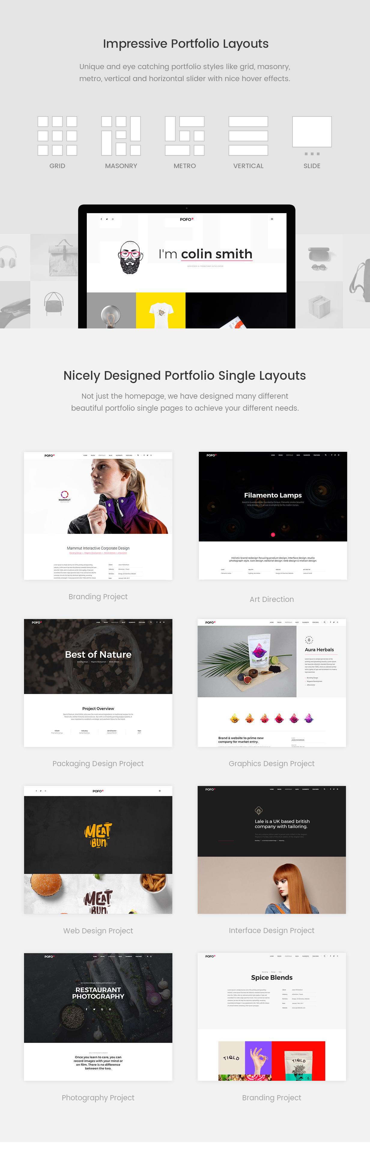 \ pofo wordpress portfolio layouts - Pofo – Creative Portfolio and Blog WordPress Theme